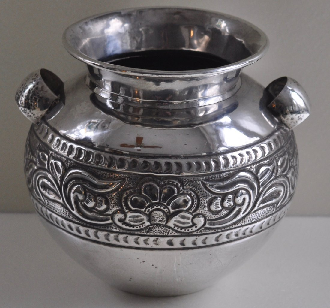Large Hand wrought Repousse Sterling Silver Pot