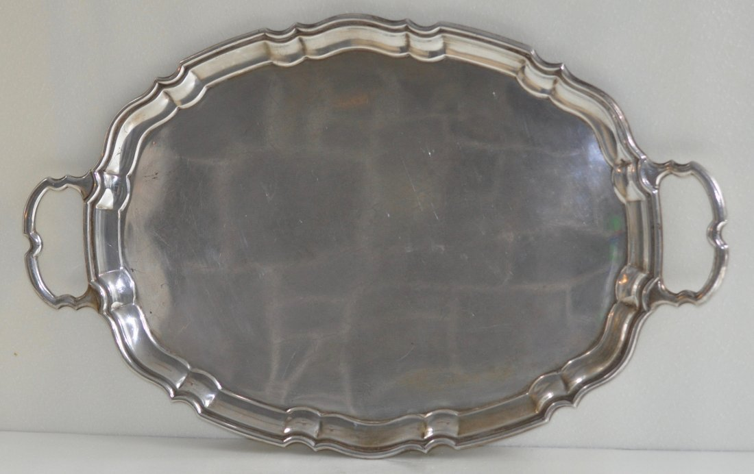 English Sterling Silver Tray w scalloped Border Viner
