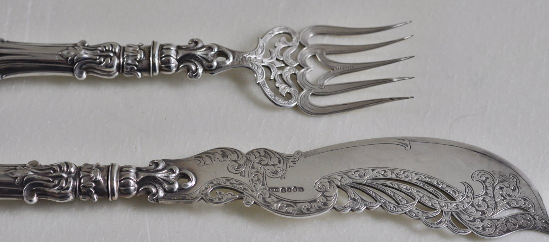Magnificent Ornate English Sterling Silver Fish set
