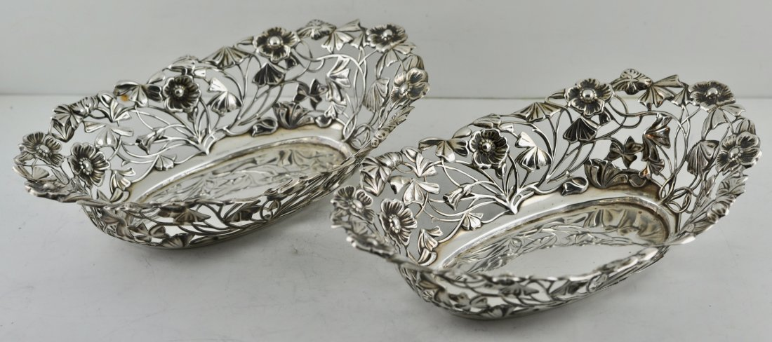 Pair Sterling Silver London Open Work Bowls