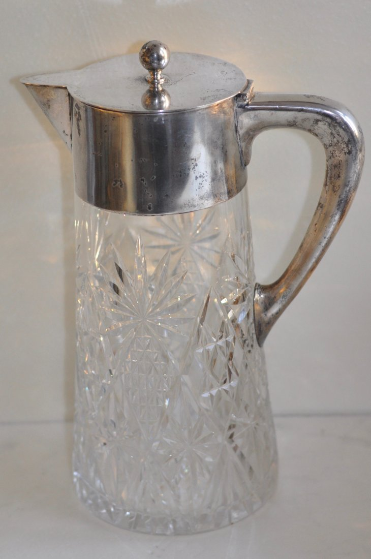 Antique Cut Glass Pitcher  with 800 Silver top & handle