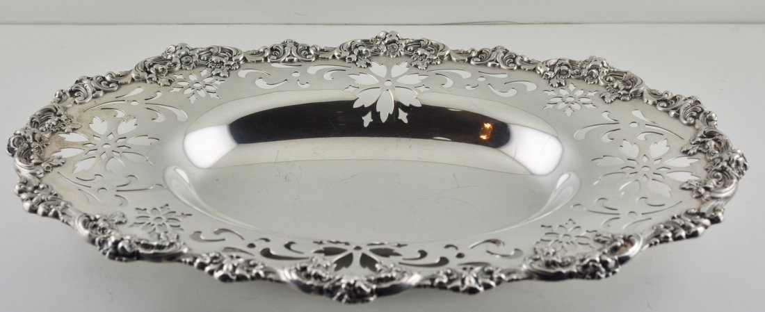 Antique English Ornate Birmingham Sterling Silver Dish