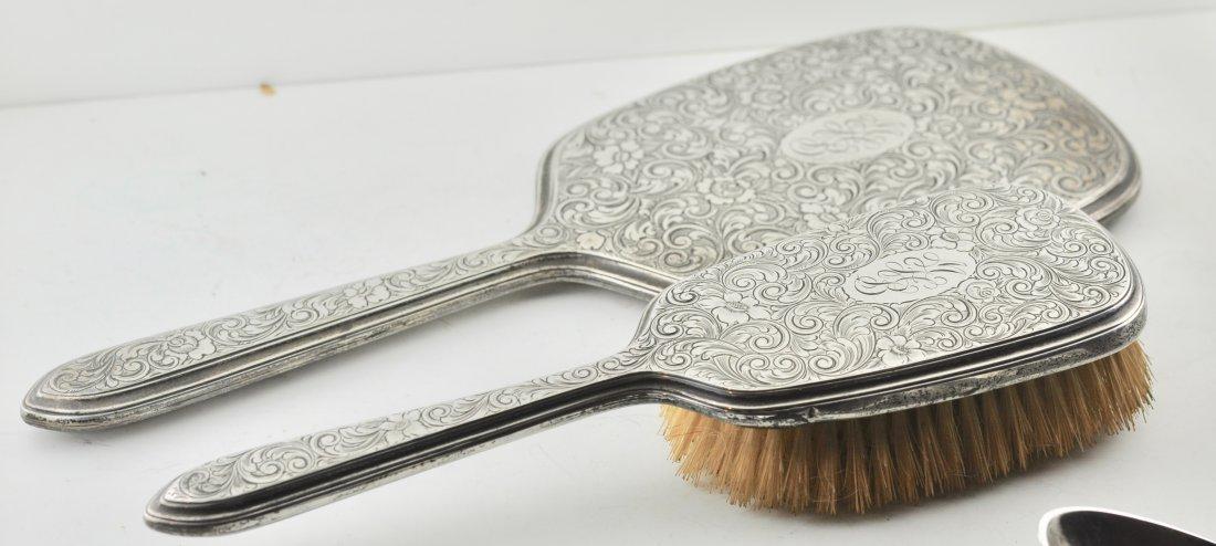 Gorham Sterling Silver Chased Mirror & Brush