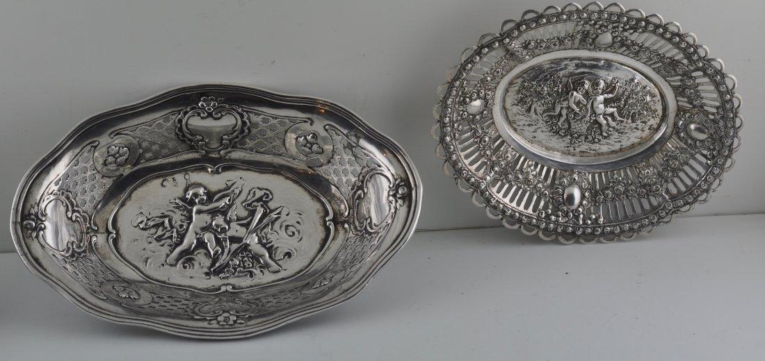 2 19th century 800 Silver Cherub Motif Dishes