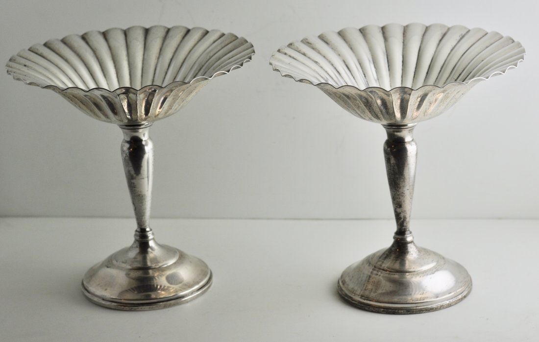 Pair of Fluted Sterling Compotes
