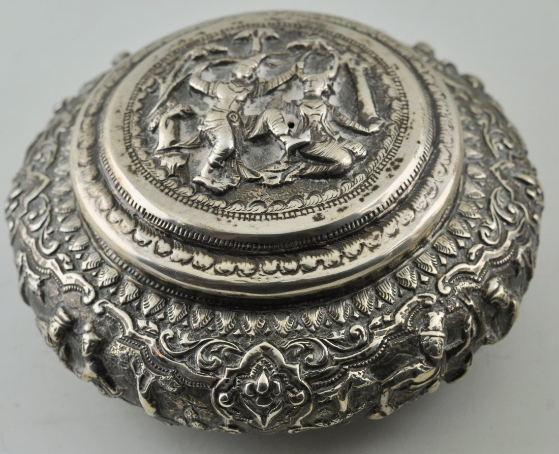South East Asian Sterling Silver covered box