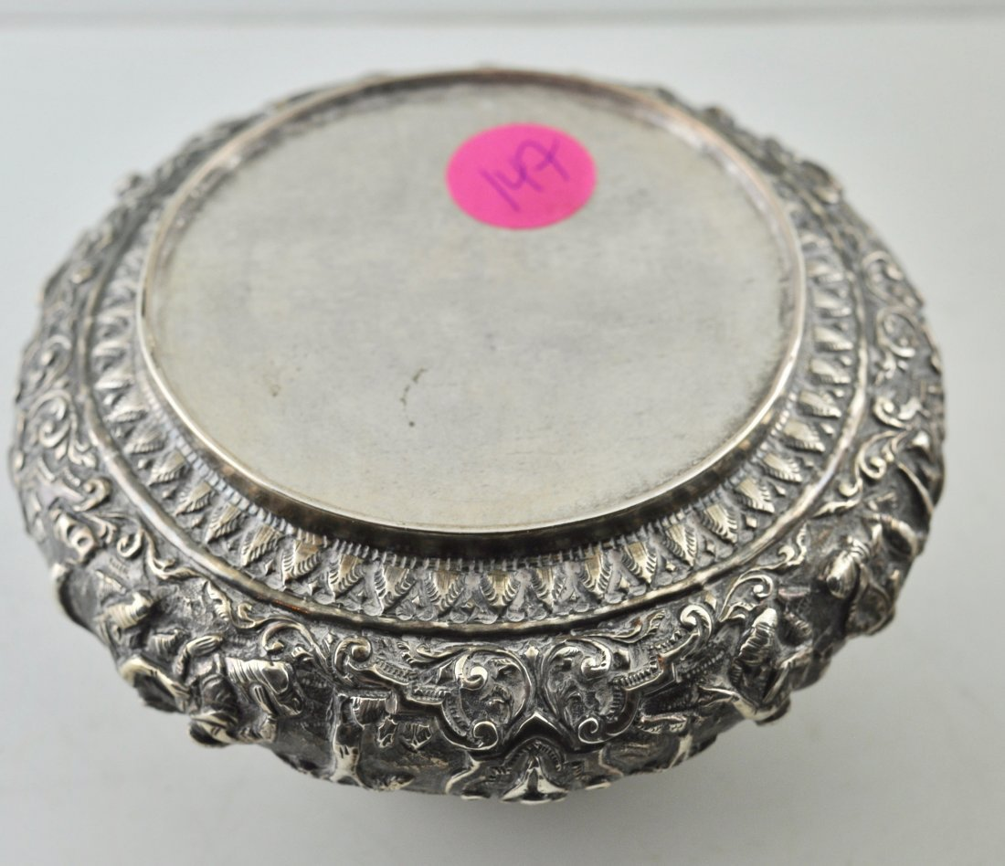 South East Asian Sterling Silver covered box - 2