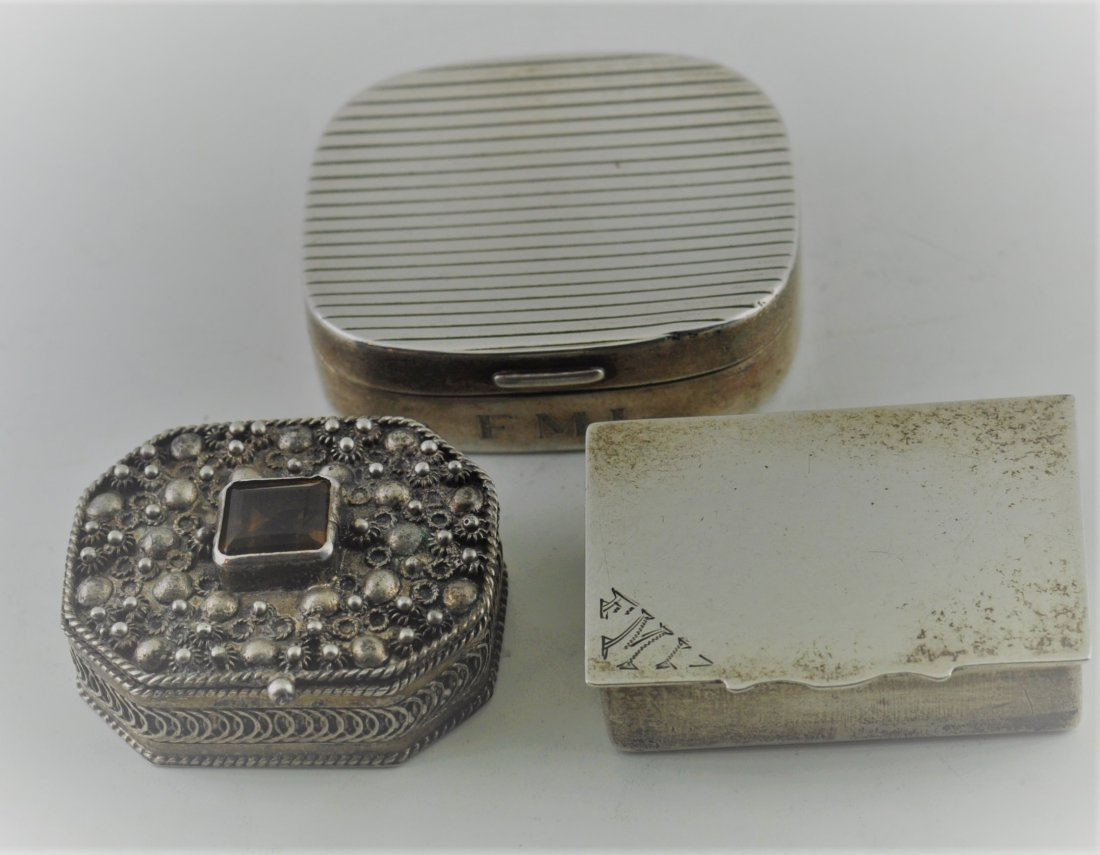 Group of small Sterling Silver Boxes