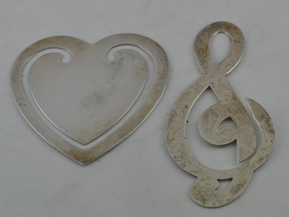 2 Tiffany & co Book Marks Sterling Heart & Clef