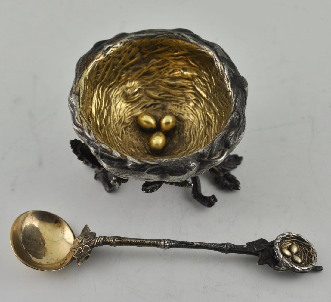 Gorham Sterling Birds Nest Salt & Spoon Rare