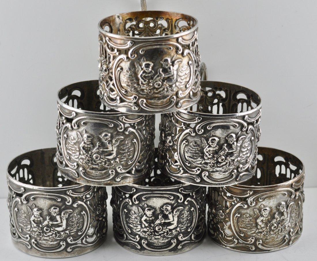 6  Antique 800 Silver Cherub, Bird Coffee Cup Holders