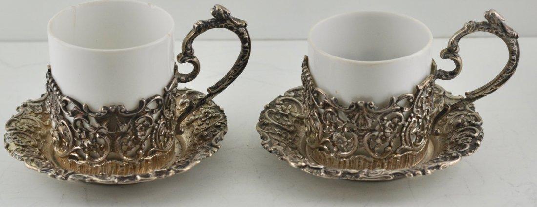 2 Antique 800 Silver Cherubs demi-tasse cups & saucers