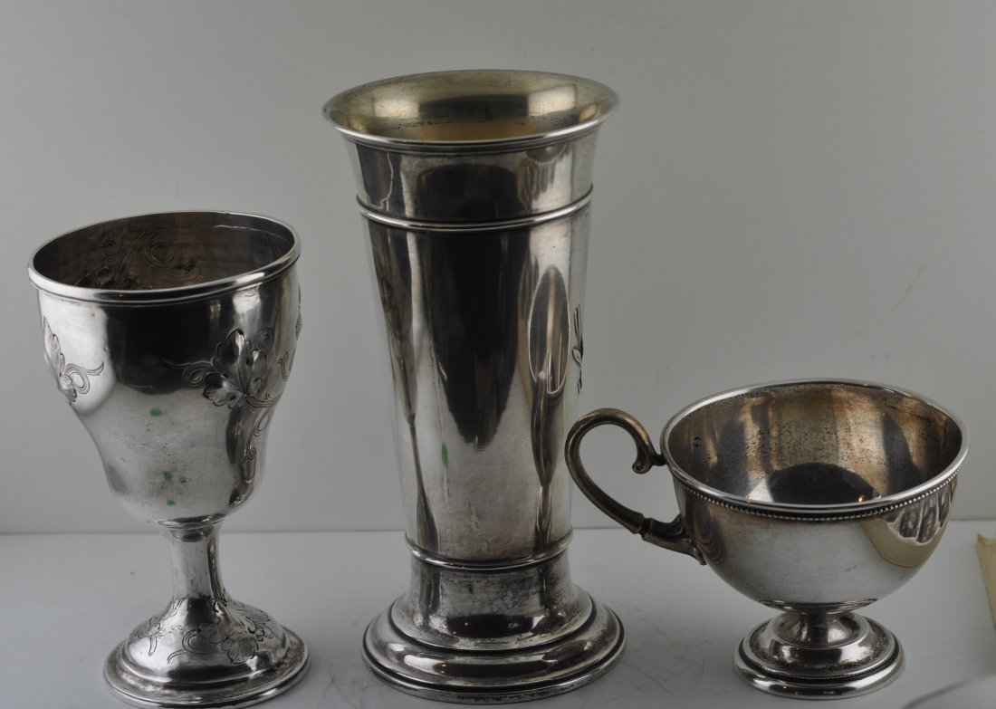 Lot of 3 Antique Silver 2 cups & Vase
