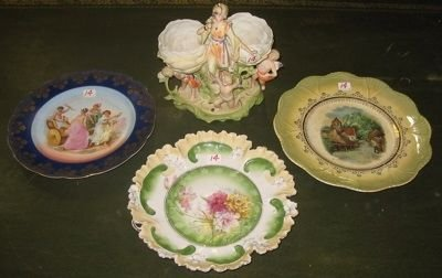 0014: A PAINTED BISQUE PORCELAIN FIGURAL GROUP AND 3  C