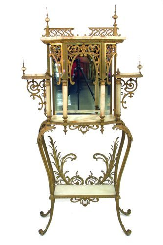 0016: A VICTORIAN BRASS AND ONYX MARBLE ETAGERE,  Ameri