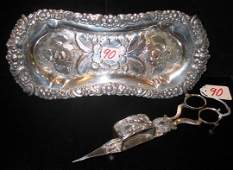 0090: AN OLD ENGLISH ORNATE SILVERPLATED TRAY AND CAND