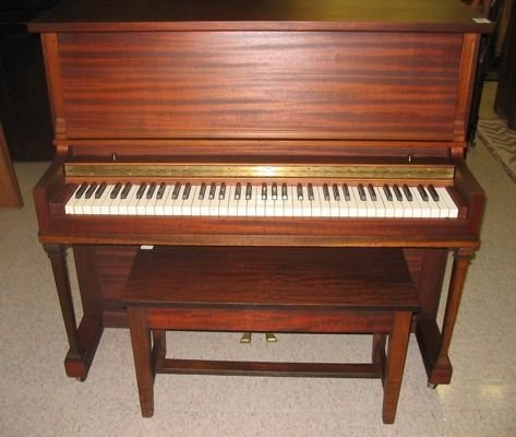 """0112: A """"TOM THUMB"""" PIANO WITH BENCH"""