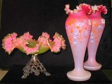 THREE AMERICAN VICTORIAN ART GLASS ITEMS.  One is