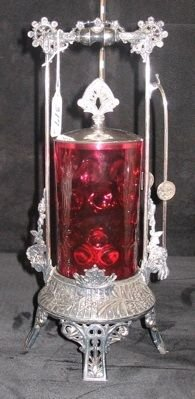 0317: AN MID-19TH CENTURY RUBY GLASS PICKLE CASTER,  ha