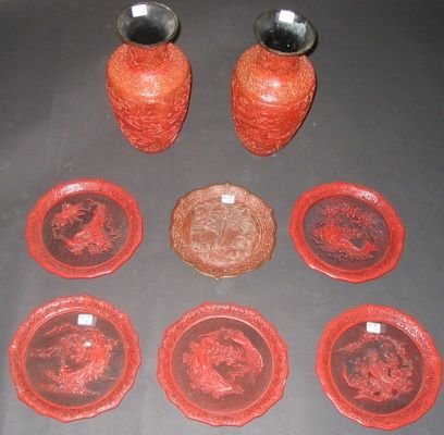 0413: COLLECTION OF EIGHT PIECES CHINESE CARVED RED  CI