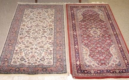 0616: TWO HAND KNOTTED ORIENTAL AREA RUGS,  Indo-Persia