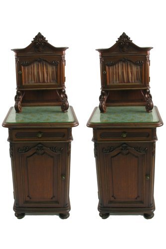 0623: A FINE PAIR OF LOUIS XVI STYLE WALNUT CABINET  NI