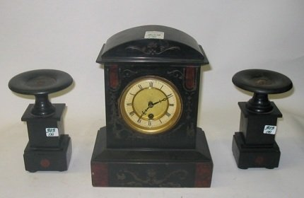 303: AN AMERICAN THREE-PIECE CLOCK SET: black slate,  t
