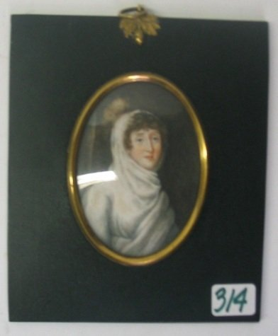 314: MINIATURE OVAL OIL PAINTING  A woman in white robe