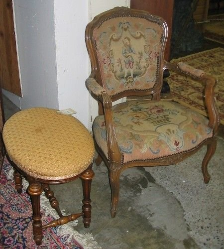 315: NEEDLEPOINT ARMCHAIR WITH FOOTSTOOL.  The  armchai
