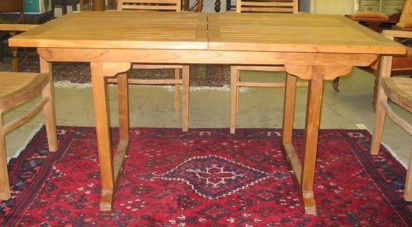 359: TEAK DRAW LEAF DINING TABLE, having a rectangular