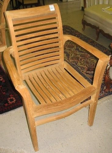 360: SET OF SIX TEAK ARMCHAIRS, the matching set with r