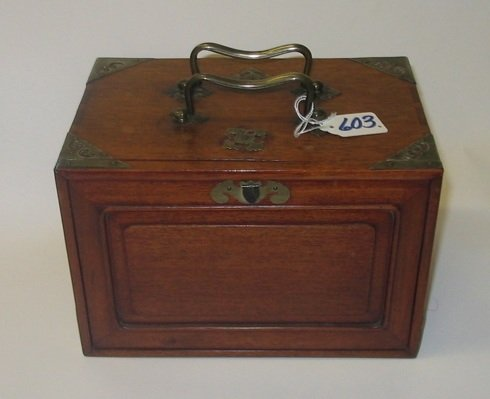 603: A CHINESE MAH-JONG SET in hardwood carrying case w
