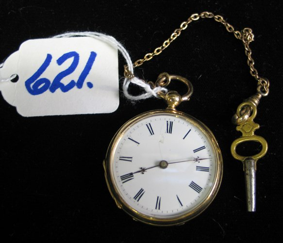 621: A SOLID 18K GOLD FRENCH POCKET WATCH, by Huit  Rub