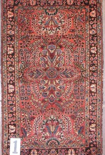 """1001: PERSIAN DERGAZINE AREA RUG  2'6"""" X 4'1""""  Antique"""