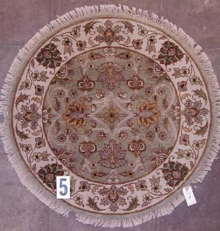 """1005: ROUND INDO-PERSIAN AREA RUG  3'11"""" x 3'11""""  9/9 q"""