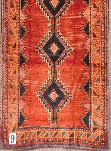"""1009: PERSIAN SHIRAZ CARPET  4'3"""" x 9'11""""  Semi-antique"""