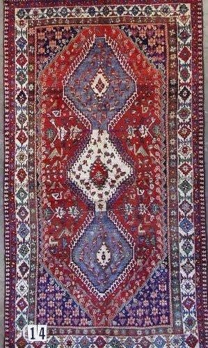 "1014: PERSIAN YALAMEH CARPET 5'5"" x 10'1""  Contemporary"