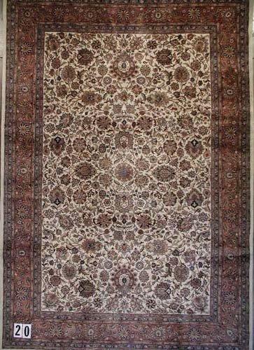"1020: INDO-KASHAN CARPET  7'9"" x 11'3""  12/60 quality"