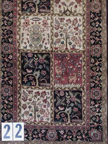 """1022: INDO-PERSIAN STAIRS CARPET  2'8"""" x 26'2""""  Contemp"""