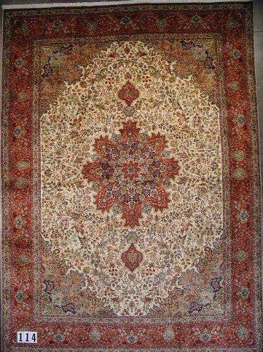 """1114: PERSIAN TABRIZ CARPET 9'9"""" x 13'6 Contemporary  A"""