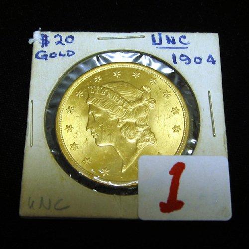 1: U.S. TWENTY DOLLAR GOLD PIECE, Liberty head  type, v