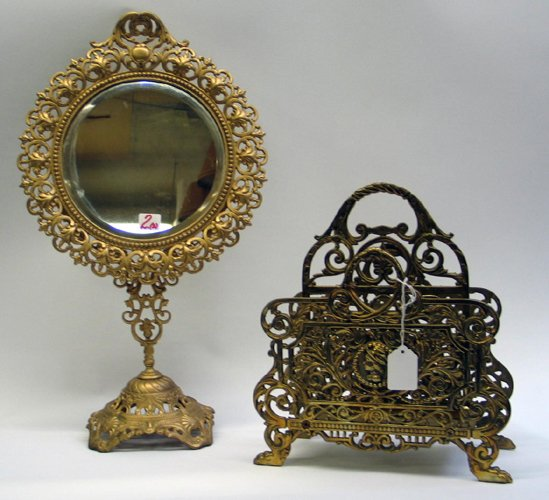 2: GILT METAL STAND MIRROR AND BRASS LETTER RACK.  The