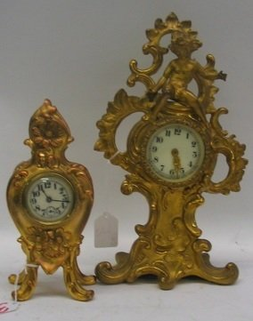 3: TWO AMERICAN VICTORIAN GILT METAL TIME PIECES:  the