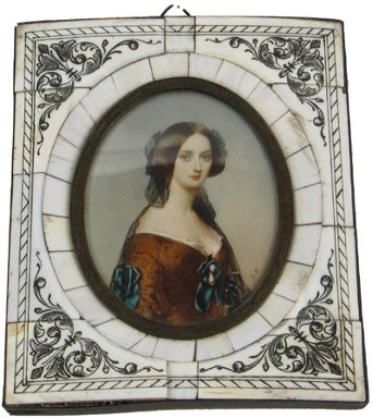 4: MINIATURE OVAL OIL PAINTING, portrait of woman  in