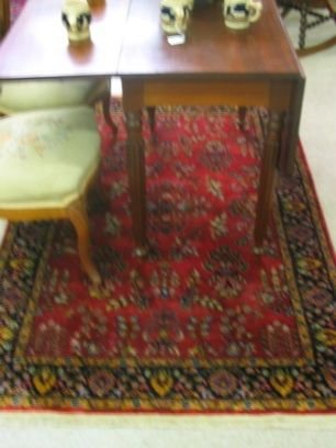 12: HAND KNOTTED ORIENTAL AREA RUG, red field  Indo-Sar