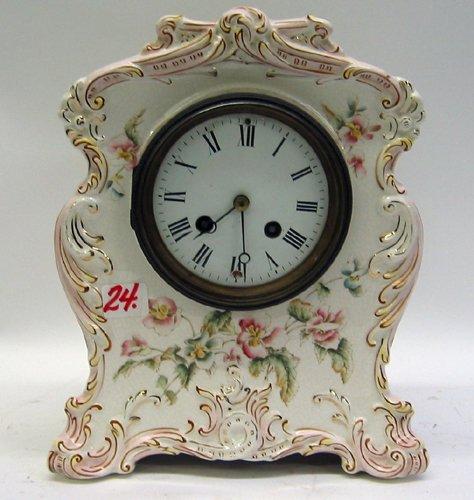24: AN AMERICAN WATERBURY PARLOR CHINA CLOCK, no.  81,