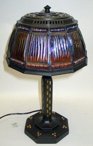 311: A TIFFANY STYLE LINEN FOLD DESK LAMP, two-light, i