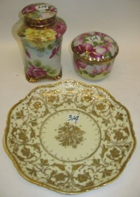 314: A GROUP OF THREE NIPPON HAND PAINTED AND GOLD  DEC