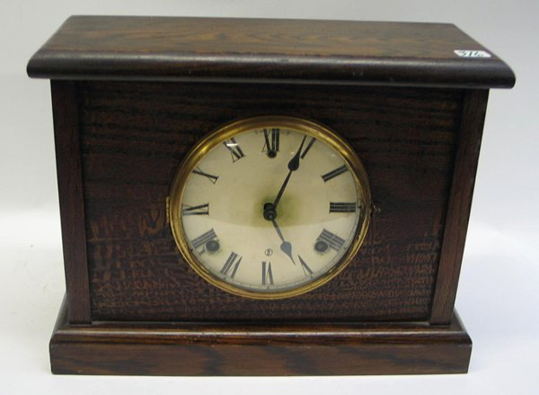 316: AN AMERICAN WOOD CASED SHELF CLOCK, time and  stri