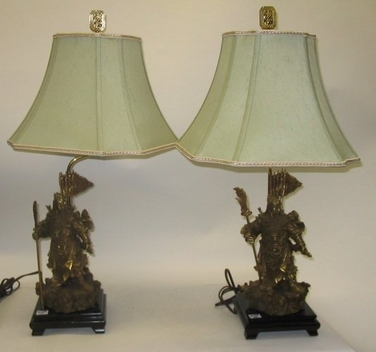 609: PAIR CHINESE GILT BRONZE FIGURAL TABLE LAMPS.  Eac